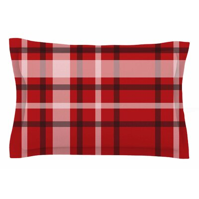 Famenxt Plaid Red Digital Sham Size: King