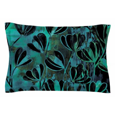 Ebi Emporium Efflorescence, Night Blossoms Watercolor Sham Size: King, Color: Teal/Black