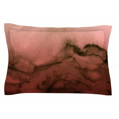 Ebi Emporium Winter Waves, Red Black Painting Sham Size: King