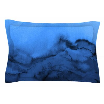 Ebi Emporium Winter Waves, Shades of Blue Painting Sham Size: Queen