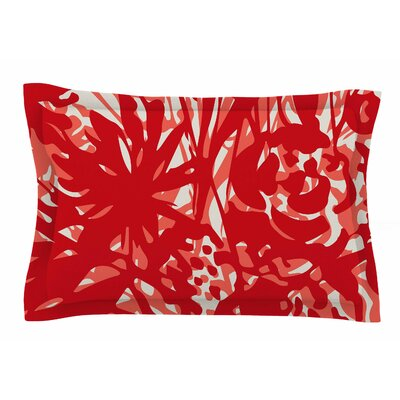 Patternmuse Inky Floral Poppy Painting Sham Size: Queen