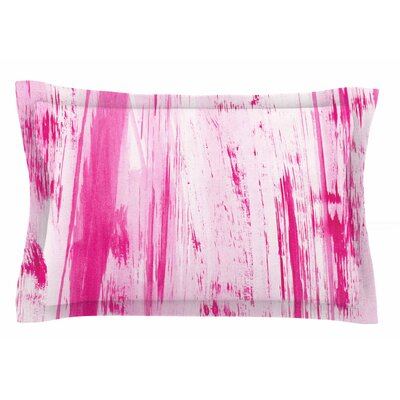 Danii Pollehn Pink Stripes Watercolor Sham Size: Queen
