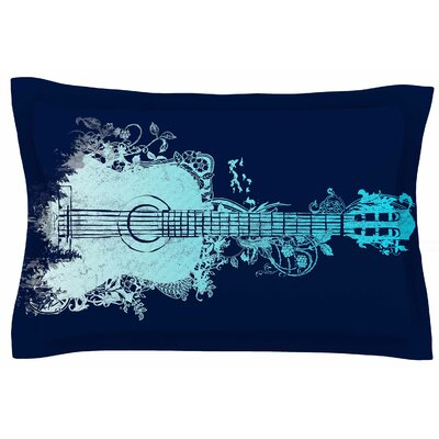 Frederic Levy-Hadida Nature Tune - Blue Music Sham Size: Queen, Color: Blue/Aqua