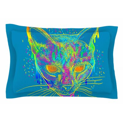 Frederic Levy-Hadida Candy Cat Blue Sham Color: Blue/Rainbow, Size: 20 H x 40 W x 0.25 D