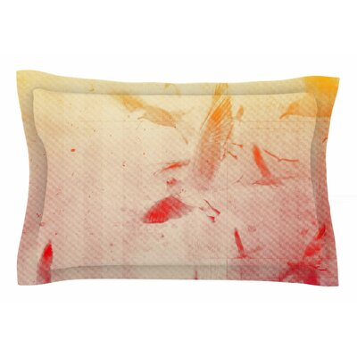 Frederic Levy-Hadida Them Birds Orange Purple Pillow Sham Sham Color: Orange/Purple, Size: King