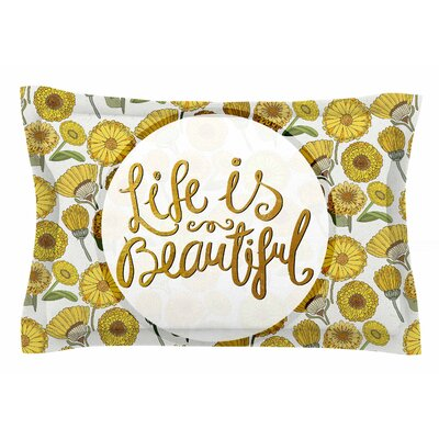 Pom Graphic Design Life is Beautiful Typography Illustration Sham Size: Queen