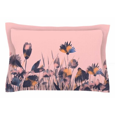 Hitidesign Crazy Flowers Illustration Sham Size: Queen
