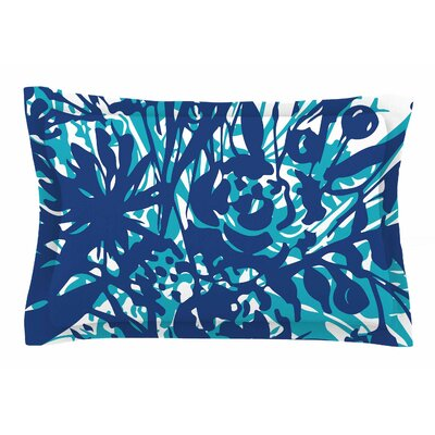 Patternmuse Inky Floral Navy Painting Sham Size: King