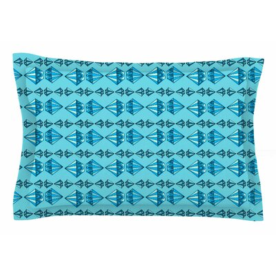 Jane Smith Blue Diamond Stripe Illustration Sham Size: Queen
