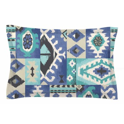 Jacqueline Milton Tribal Patch Painting Sham Size: Queen, Color: Blue/Teal