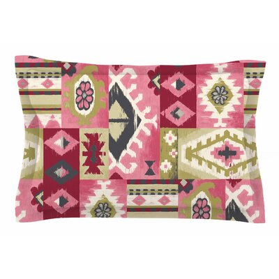 Jacqueline Milton Tribal Patch Painting Sham Size: King, Color: Red/Pink
