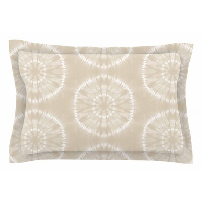 Jacqueline Milton 'Shibori Circles' Mixed Media Sham Size: Queen, Color: Beige/Pastel