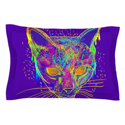 Frederic Levy-Hadida Candy Cat Purple Rainbow Purple Pillow Sham Sham Size: Queen, Color: Purple/Rainbow