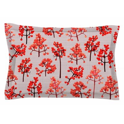 Pallerina Design Holiday Berry Twigs Floral Sham Size: Queen
