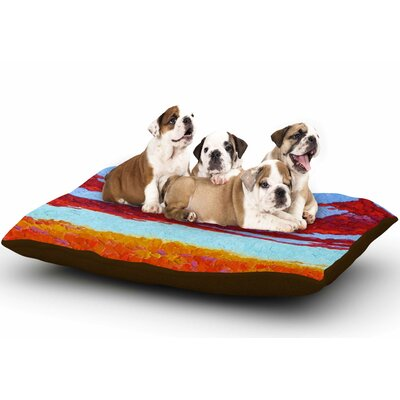 Jeff Ferst Spring Sunset Over Wildflowers Dog Pillow with Fleece Cozy Top