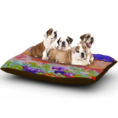 Jeff Ferst Earthly Delights Floral Abstract Dog Pillow with Fleece Cozy Top
