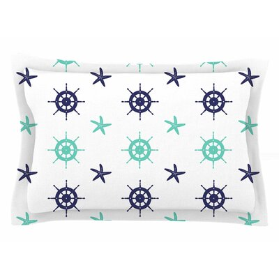 Afe Images Helm Wheel & Starfish Illustration Sham Size: King