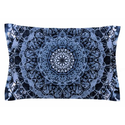 Nina May Tie-Dye Mandala Jain Illustration Sham Color: Blue/White, Size: King