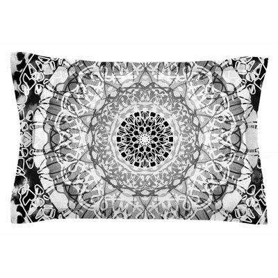 Nina May Tie-Dye Mandala Jain Illustration Sham Size: King, Color: Black/White