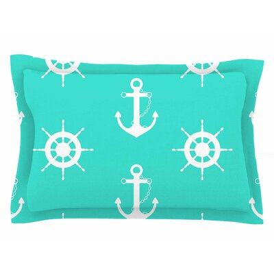 Afe Images Anchor and Helm Wheel Illustration Sham Size: King