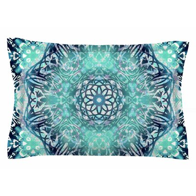 Nina May Aqua Ikat Batik Mandala Mixed Media Sham Size: Queen