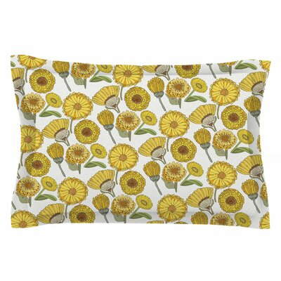 Pom Graphic Design Calendula Flowers Sham Size: Queen