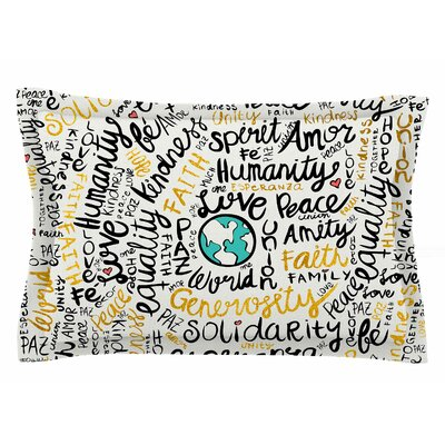 Pom Graphic Design Positive Messages Gold Illustration Sham Size: Queen