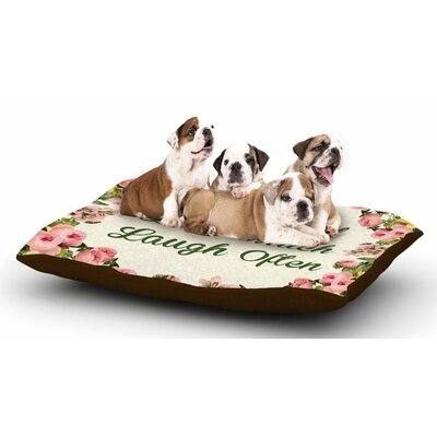 NL Designs Live, Love, Laugh Floral Typography Dog Pillow with Fleece Cozy Top
