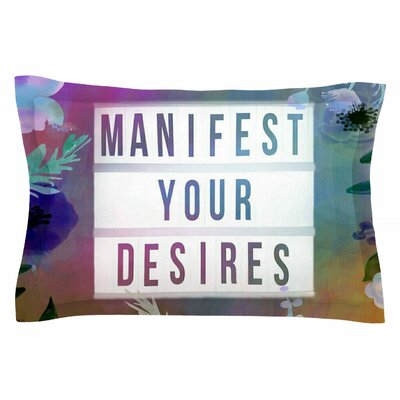 AlyZen Moonshadow 'Manifest Your Desires 1' Typography Sham Size: King