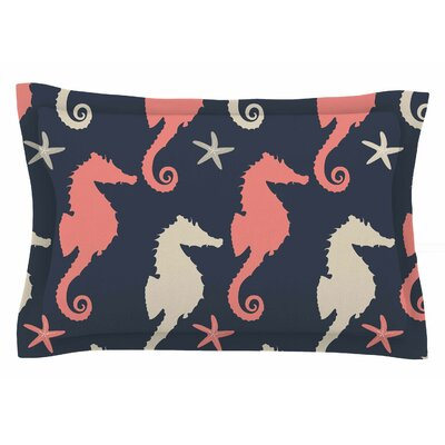 Afe Images Gray and Coral Seahorses Digital Sham Size: Queen