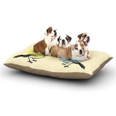 Sreetama Ray Green Paper Birds Dog Pillow with Fleece Cozy Top Size: Small (40 W x 30 D x 8 H)