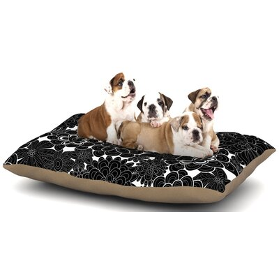 Julia Grifol Flowers in White & Black Dog Pillow with Fleece Cozy Top