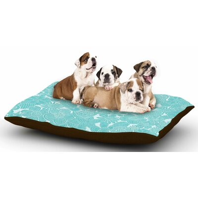Julia Grifol Turquoise Birds Dog Pillow with Fleece Cozy Top