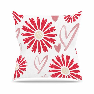 Alison Coxon Hearts and Flowers Love Outdoor Throw Pillow Size: 16 H x 16 W x 5 D