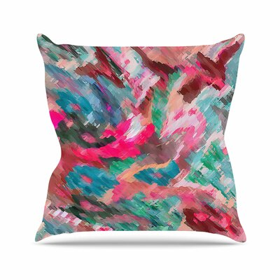 Alison Coxon Giverny Abstract Outdoor Throw Pillow Color: Green, Size: 16