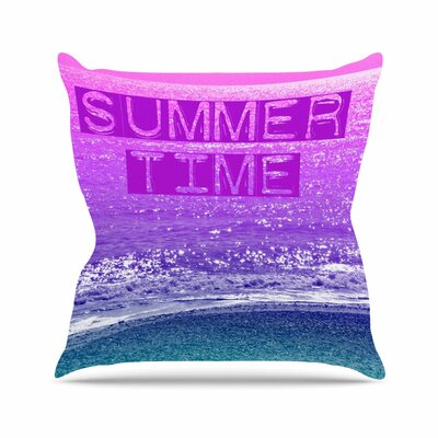 Alison Coxon Summer Time Typography Outdoor Throw Pillow Size: 16 H x 16 W x 5 D