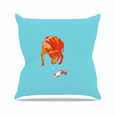BarmalisiRTB Koi Cat Outdoor Throw Pillow Size: 18 H x 18 W x 5 D
