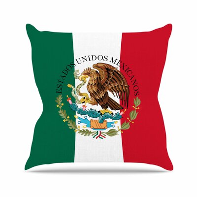 Bruce Stanfield Mexico Flag and Coat of Arms Outdoor Throw Pillow Size: 16 H x 16 W x 5 D