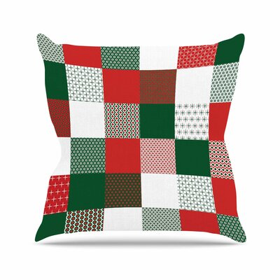 Carolyn Greifeld Holiday Patchwork Outdoor Throw Pillow Size: 16 H x 16 W x 5 D