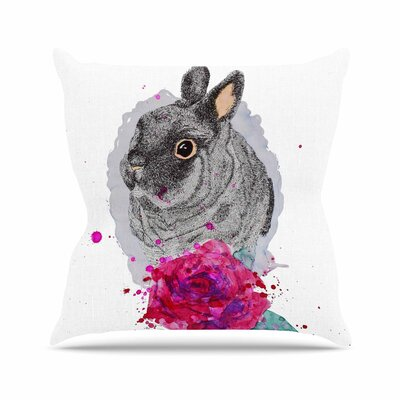 Cecibd BunnyRose Animals Painting Outdoor Throw Pillow Size: 18 H x 18 W x 5 D
