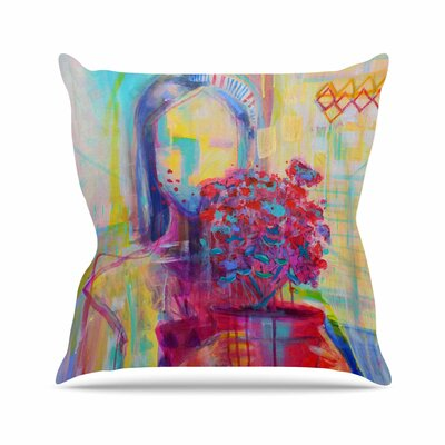 Cecibd Girl with Plants III Abstract Painting Outdoor Throw Pillow Size: 16 H x 16 W x 5 D