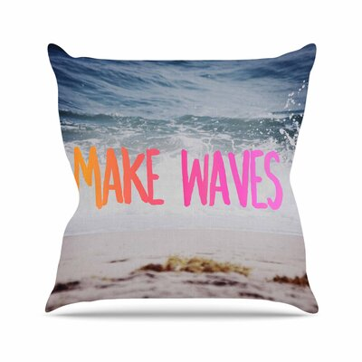 Make Waves Photography Outdoor Throw Pillow Size: 16 H x 16 W x 5 D