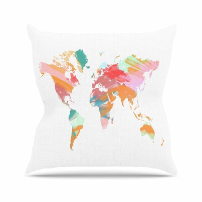 Wild World Travel Painting Outdoor Throw Pillow Size: 18 H x 18 W x 5 D