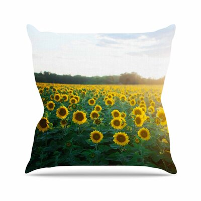 Sunflower Fields Floral Photography Outdoor Throw Pillow Size: 18 H x 18 W x 5 D