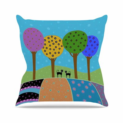 Cristina Bianco Cats Landscape Illustration Outdoor Throw Pillow Size: 16 H x 16 W x 5 D