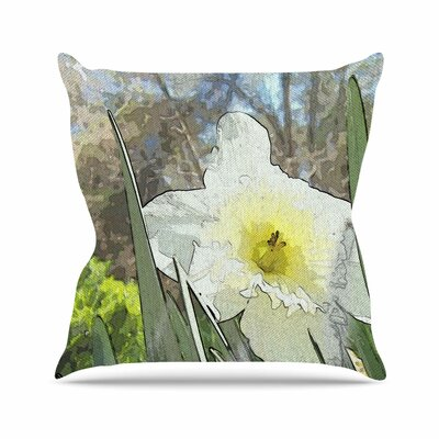 Cyndi Steen Daffodil Digital Outdoor Throw Pillow