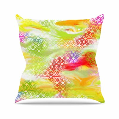 Dan Sekanwagi Locked Rams Horns Abstract Outdoor Throw Pillow Size: 16 H x 16 W x 5 D