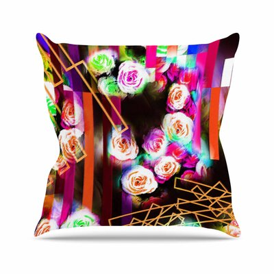 Dawid Roc Colorful Rose-Floral Geometric Outdoor Throw Pillow Size: 16 H x 16 W x 5 D