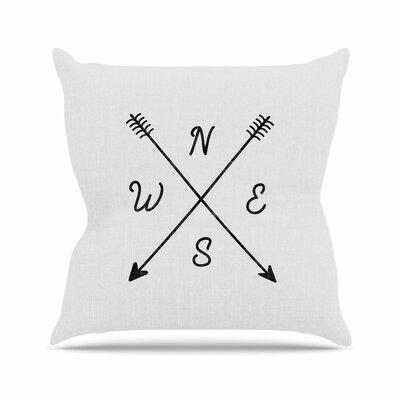 Draper Cardinal Direction B Vintage Outdoor Throw Pillow Size: 18 H x 18 W x 5 D, Color: White