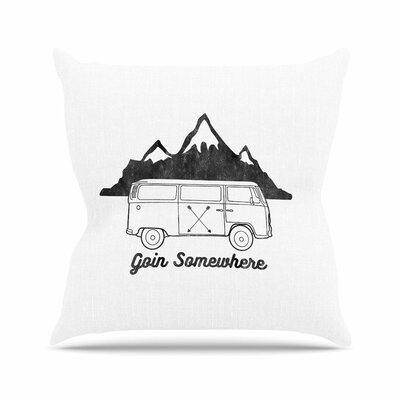Draper Going Somewhere Typography Outdoor Throw Pillow Color: White, Size: 16 H x 16 W x 5 D
